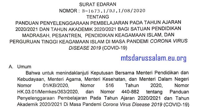 Surat Edaran Panduan Penyelenggaraan Pembelajaran Pada Tahun Pelajaran 2020/2021 Bagi Satuan Pendidikan Madrasah, Pesantren, Pendidikan Agama Islam Dan Perguruan Tinggi Keagamaan Islam Di Masa Pandemi Covid-19
