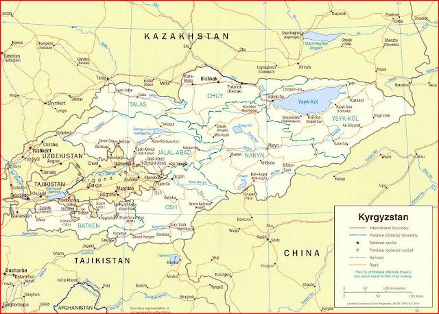 Gambar Peta politik Kyrgyzstan 2005