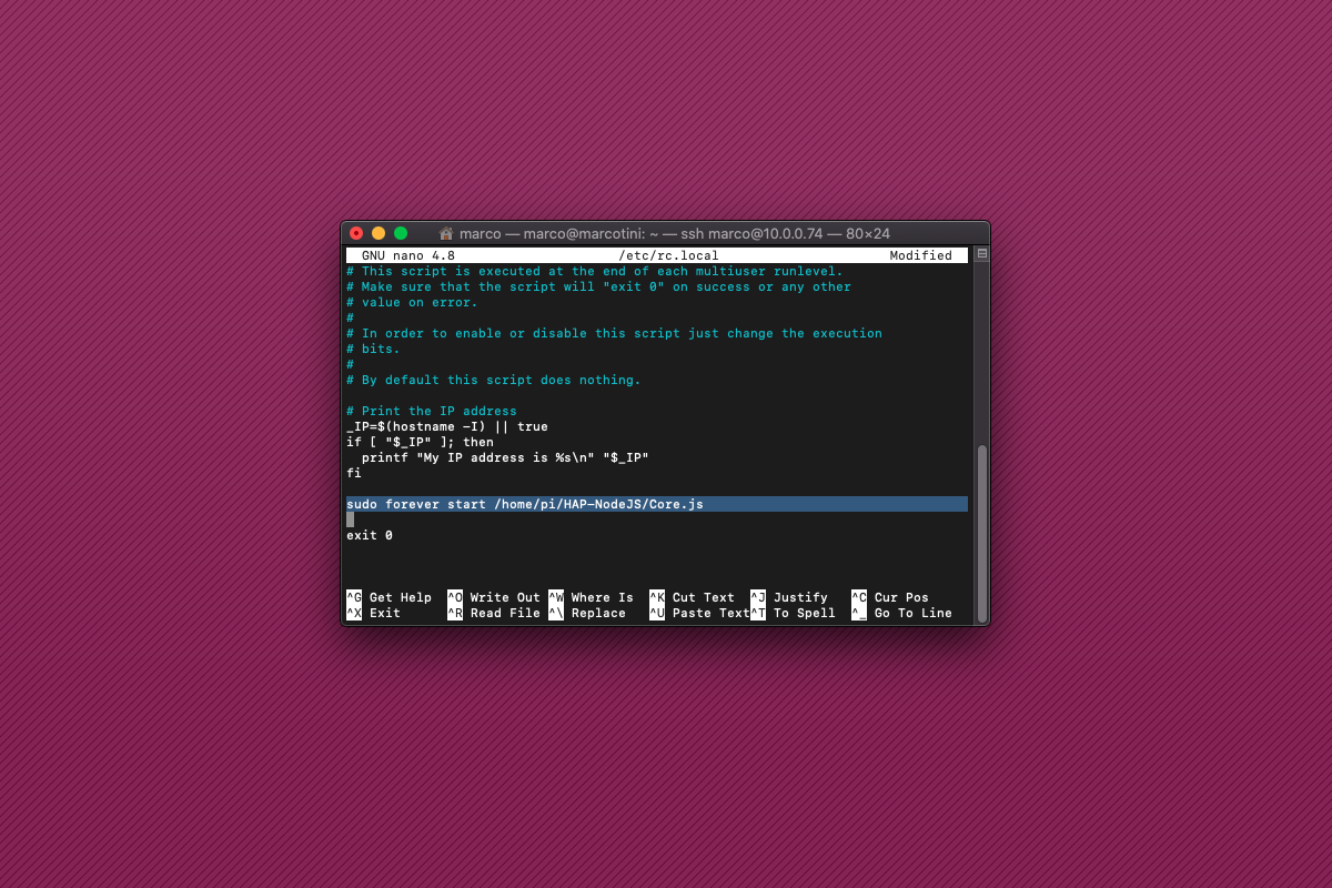 Come avviare HAP-NodeJS all'avvio del Raspberry Pi