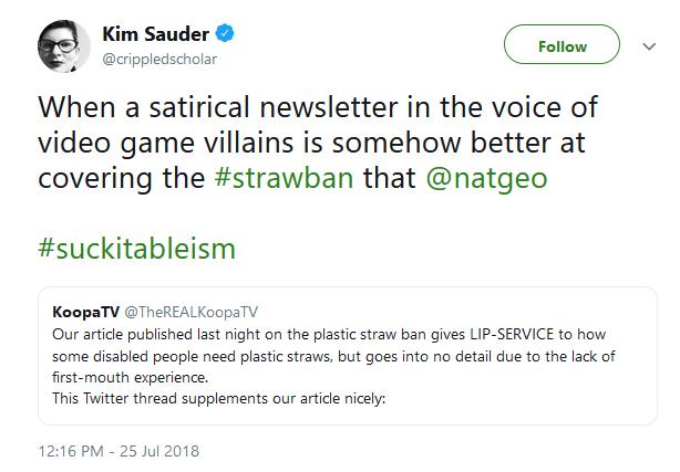KoopaTV plastic straw ban Twitter reaction