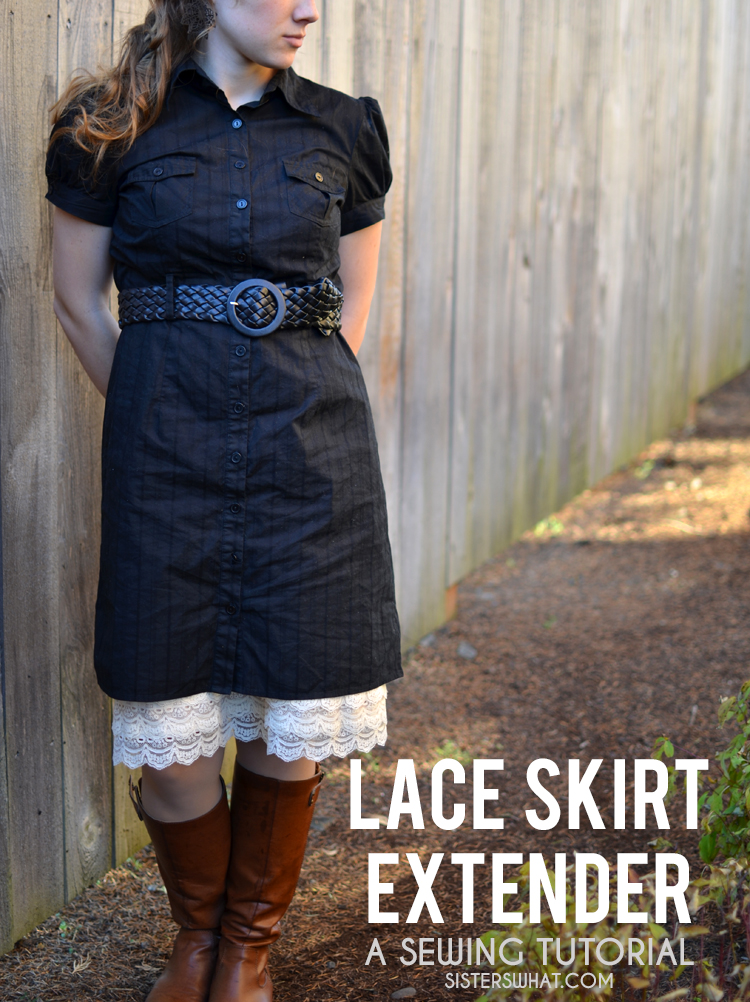 This lace skirt extender tutorial is perfect to extend a dress that is too short and add some fun lace to any dress.