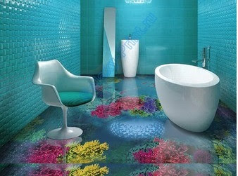 3D floor painting for bathroom flooring