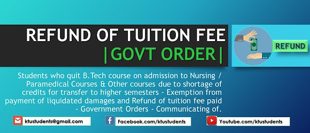 ktu tuition fee refund government order
