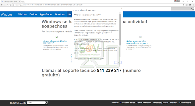 """Windows ha detectado el Virus ZEUS"" pop-ups (Falso soporte)"