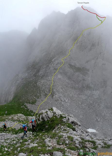 Vista atrás del descenso que realizamos tras la ascensión al Tercer Poyón