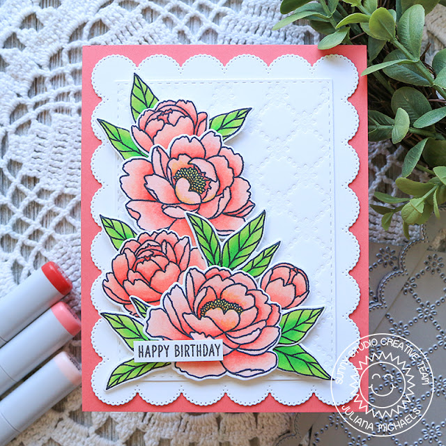 Sunny Studio Stamps: Frilly Frame Eyelet Lace Dies Pink Peonies Birthday Card by Juliana Michaels