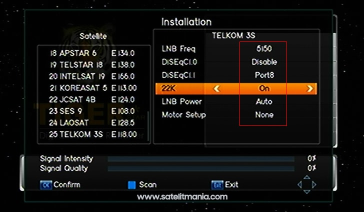 Cara Menambahkan Satelit Telkom 3s di Receiver