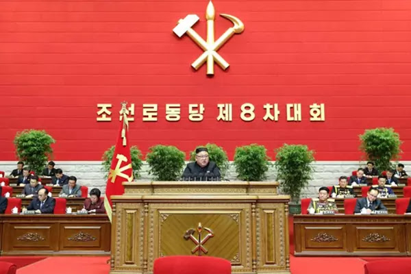 Kim Jong Un at opening day of WPK 8th Congress, January 5, 2021