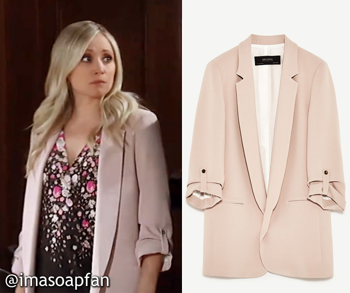 Lulu Spencer Falconeri, Emme Rylan, Long Blush Pink Blazer, Zara, GH, General Hospital