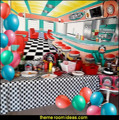 Rockin' 50s Starlite Diner Backdrop  50s diner party Decorations 50s Theme Parties Party Centerpieces Sock Hop Decorations Party Themes Rockabilly Party 1950s Party Fifties Party Disco Party.