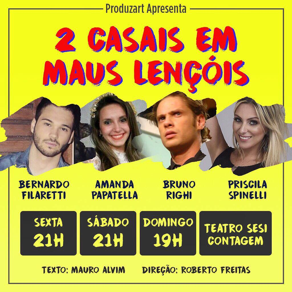"""Comédia """"2 casais em maus lençóis"""" está em cartaz no Festival Abobrinhas. Foto: Divulgação"""