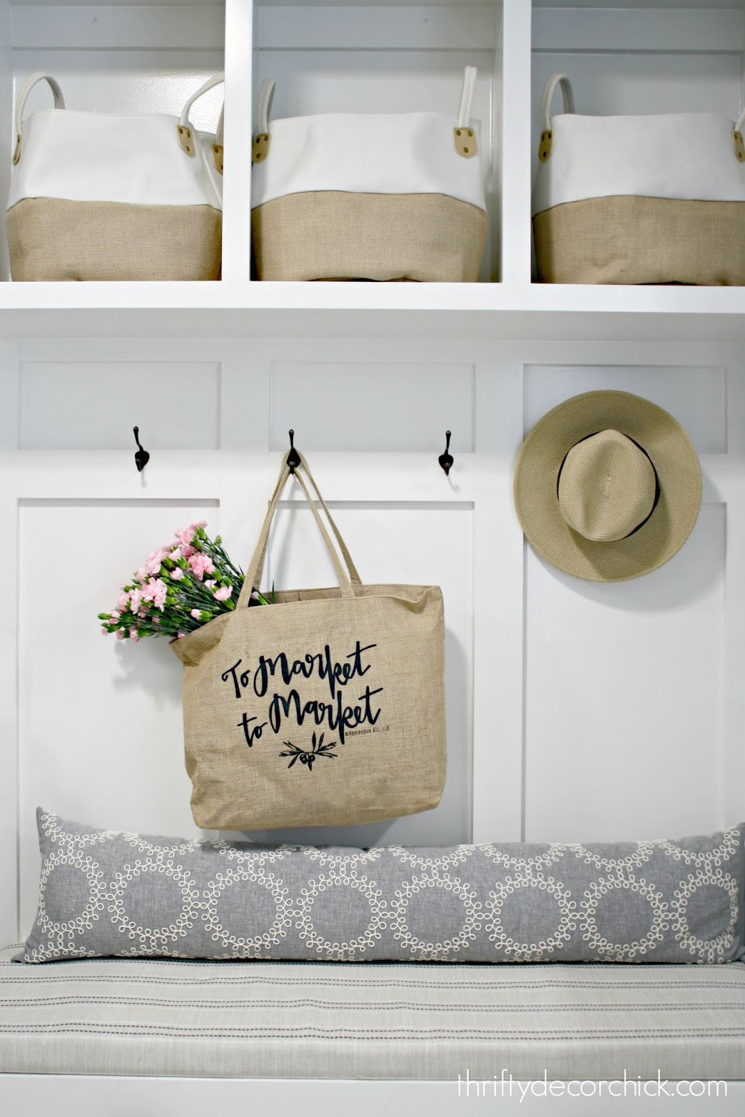 Market bag canvas mud room built ins