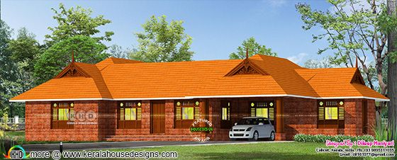 Traditional Kerala house architecture rendering