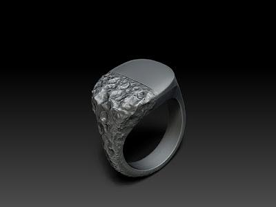 Sculpted signet ring. Custom Jewellery. 3D Rendering.