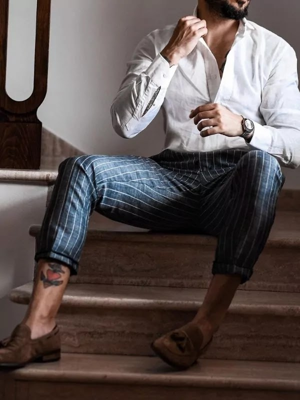 Plain shirts and patterned trousers