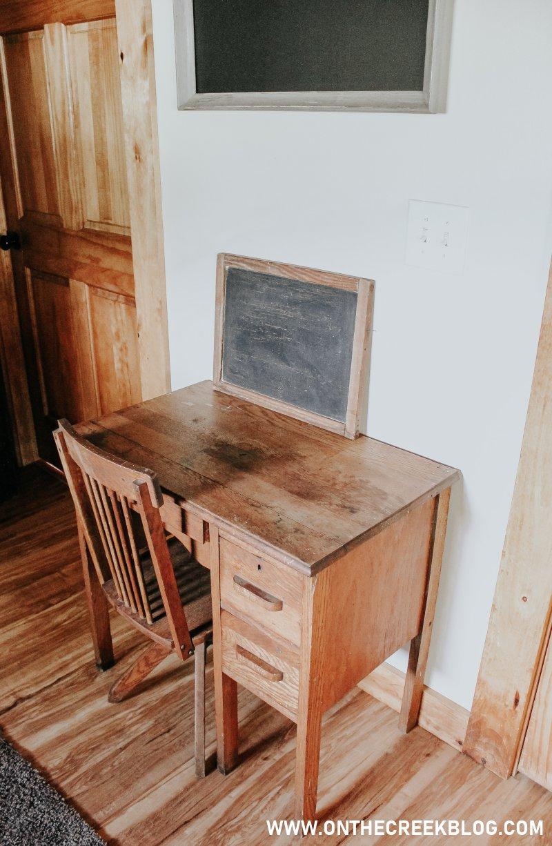 A little wood school desk! | On The Creek Blog