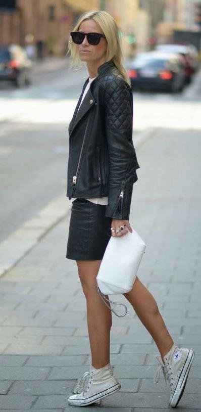 casual style addiction / converse  + bag + skirt + jacket