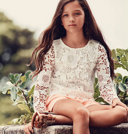 H&M pantalón y top de encaje niñas primavera verano