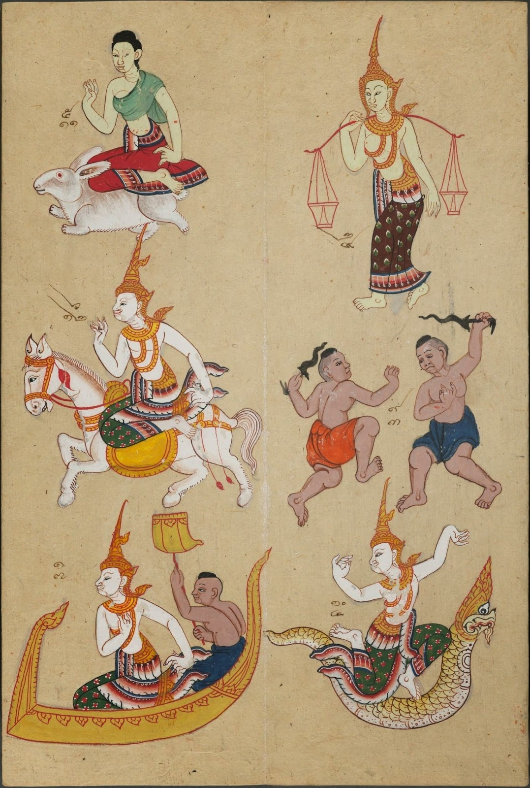 assortment of coloured drawings of Thai people, gods & animals from zodiac astrological system