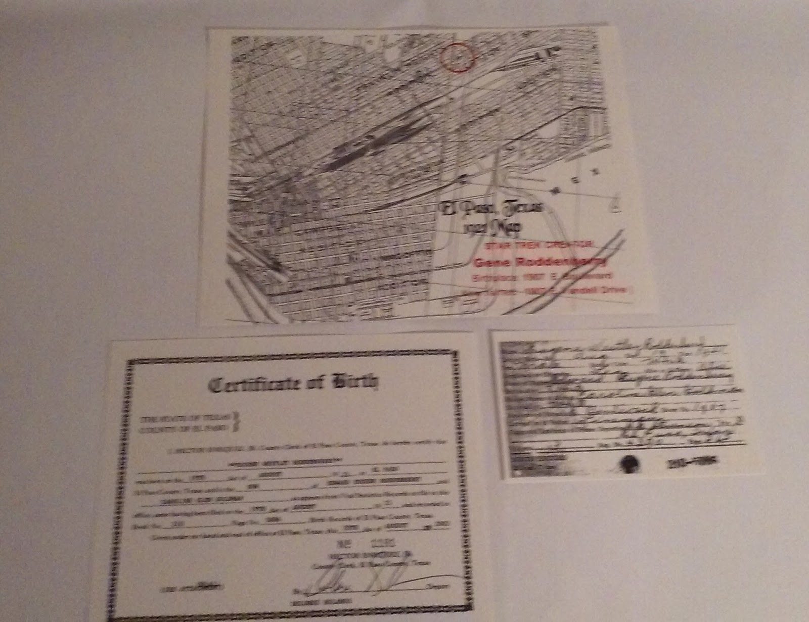 Travels with books happy birthday gene roddenberry these are copies printed around 2002 and signed by the county clerk of el paso texas the map shows the 1921 location of roddenberrys house aiddatafo Gallery