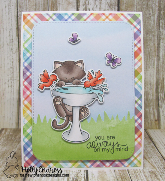 Cat on Birdbath Card by Holly Endress | Newton's Birdbath Stamp set by Newton's Nook Designs #newtonsnook