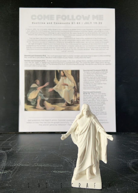 Come Follow Me printable July 18 with Statue of Jesus Christ