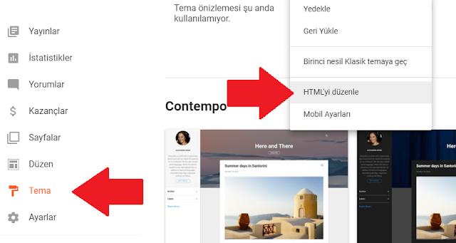 Blogger HTML'yi düzenle