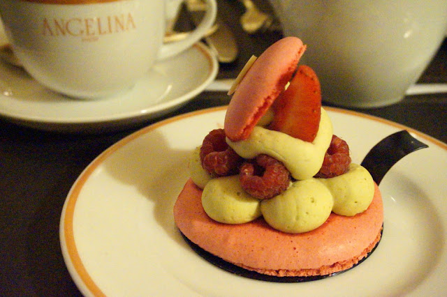 strawberry macaron and fresh berries