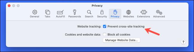 قم بتمكين منع التتبع عبر المواقع على Safari