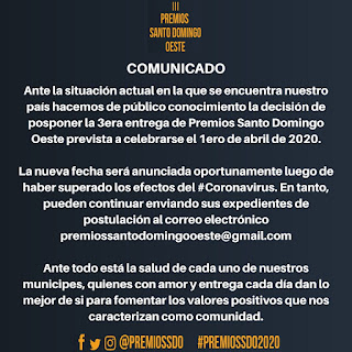 Comunicado Premios Santo Domingo Oeste