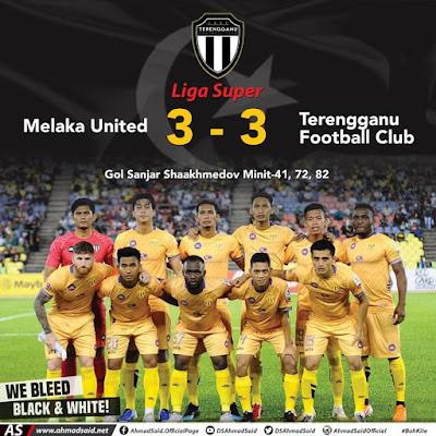 Terengganu FC kekal di tangga ketujuh selepas keputusan seri menentang Melaka FC