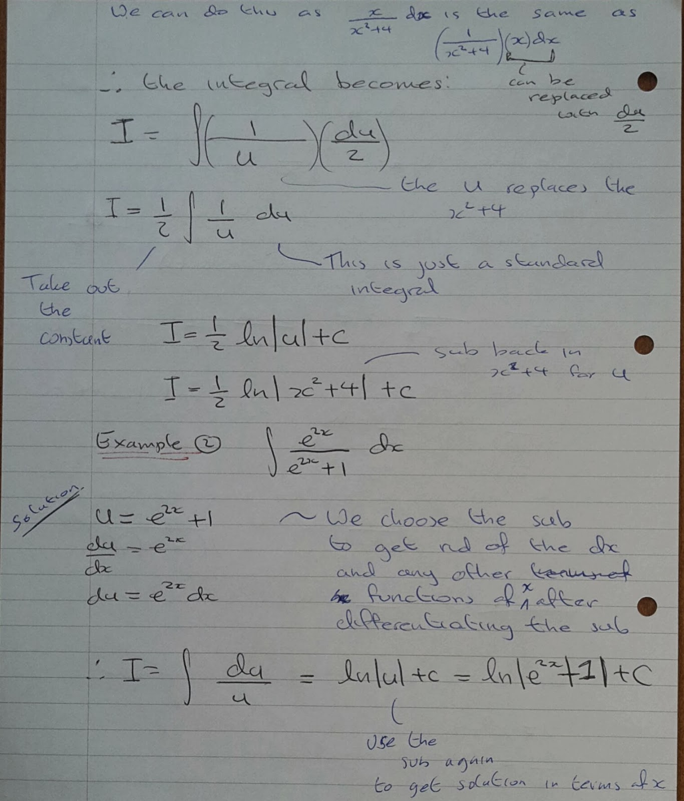 A Level Maths Notes: A2 Integration II: Substitution