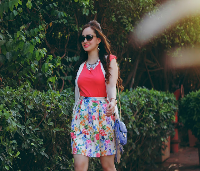 Coral Top, Floral Skater Skirt, White Cape, Fringe Bag,Women's Summer Fashion,Shoppers Stop Spring Summer Collection 2016