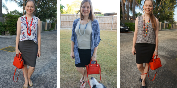 3 outfit ideas little red micro Avery bag with pencil skirts | away from the blue