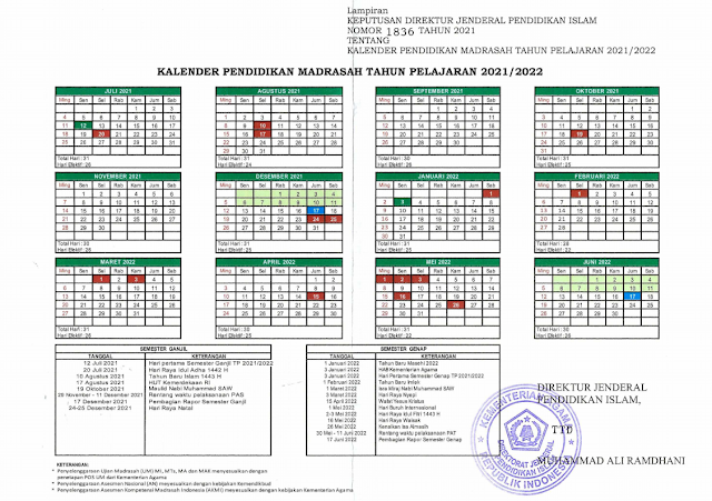 Kalender Pendidikan Madrasah 2021/2022 Tingkat MI, MTs, MA dan MAK