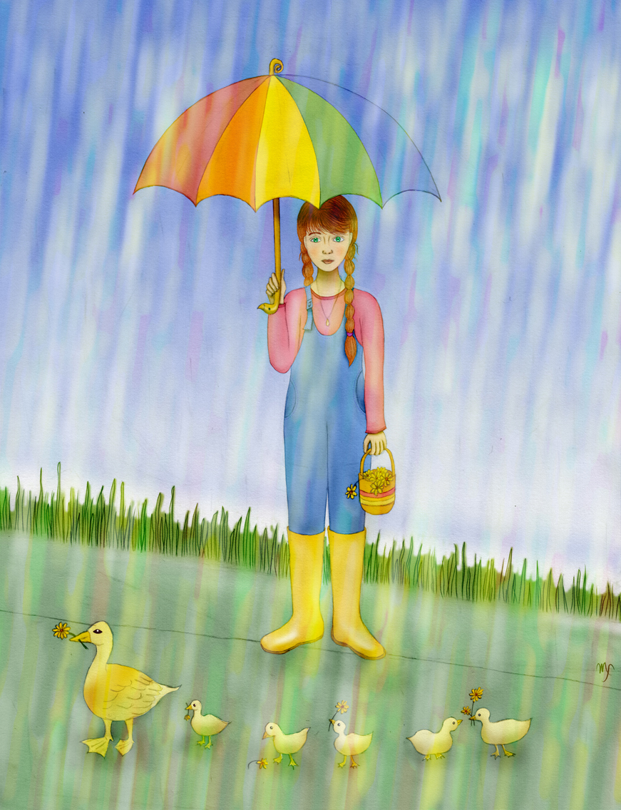 girl with umbrella in the rain with ducks