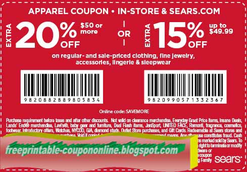 Sears outlet coupons 2018