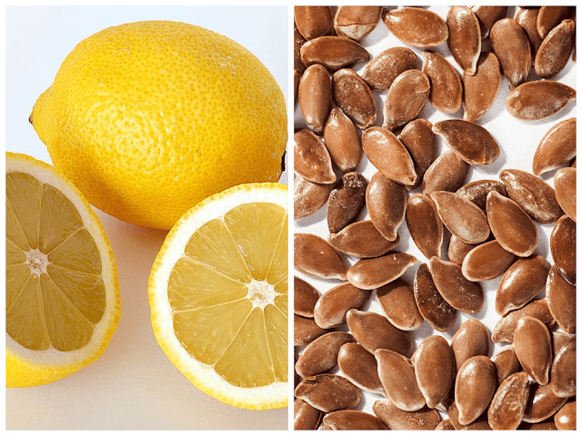 خلطة بذور الكتان والليمون للشعر