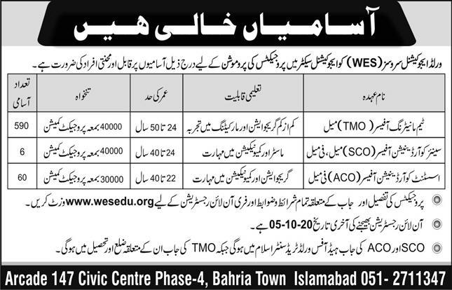 656 Posts for World Education Services Computerized Testing Services Jobs 2020 for TMO Team Monitoring Officer