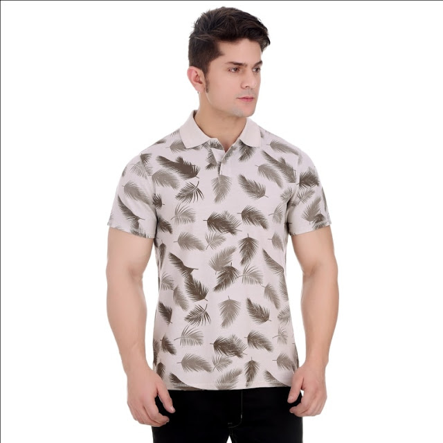 Overdyed Silver Grey Cotton Polo T Shirt With All Over Leaf Print And Enzyme Wash