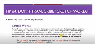 TranscribeMe Exam - Tip 4: Don't Transcribe Crutch ords