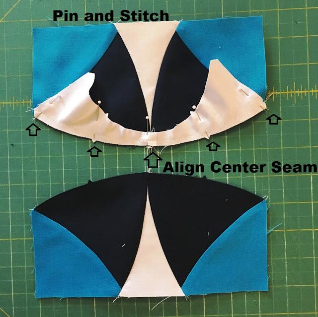 pin stitch align quilt block center seam