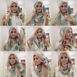 tutorial hijab segi empat cantik sederhana