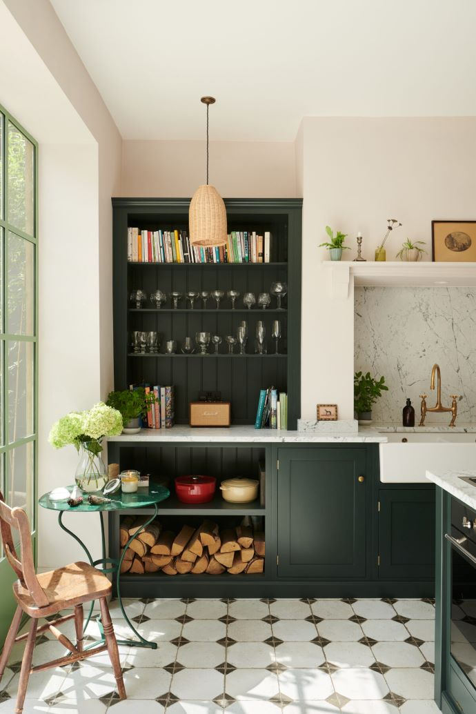 This Shaker Kitchen by deVOL Kitchens Is A Dream. Those green cabinets are beautiful!-designaddictmom