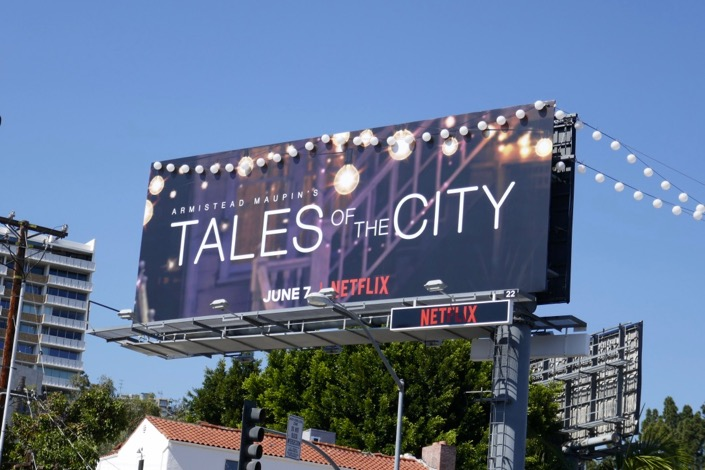 Tales of City lantern lights billboard Sunset Strip