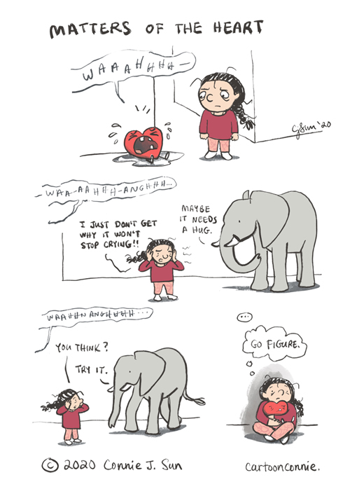 crying heart cartoon, heart, hug, dealing with emotions, emotional awareness, comics, illustration, humor, sketchbook, connie sun, cartoonconnie