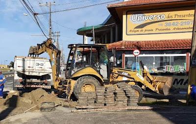 Começaram obras de drenagem no Boqueirão Norte na Ilha Comprida