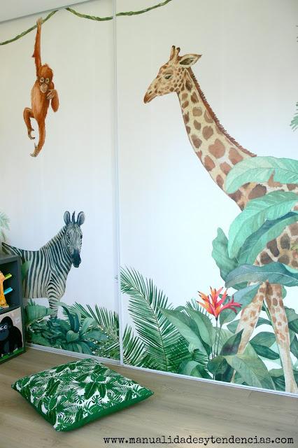 Fotomural de la jungla para dormitorio bebés
