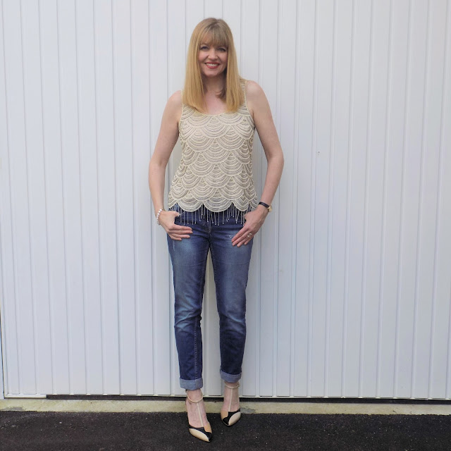 Gatsby style top with boyfit jeans and Kaleidoscope colourblock shoes