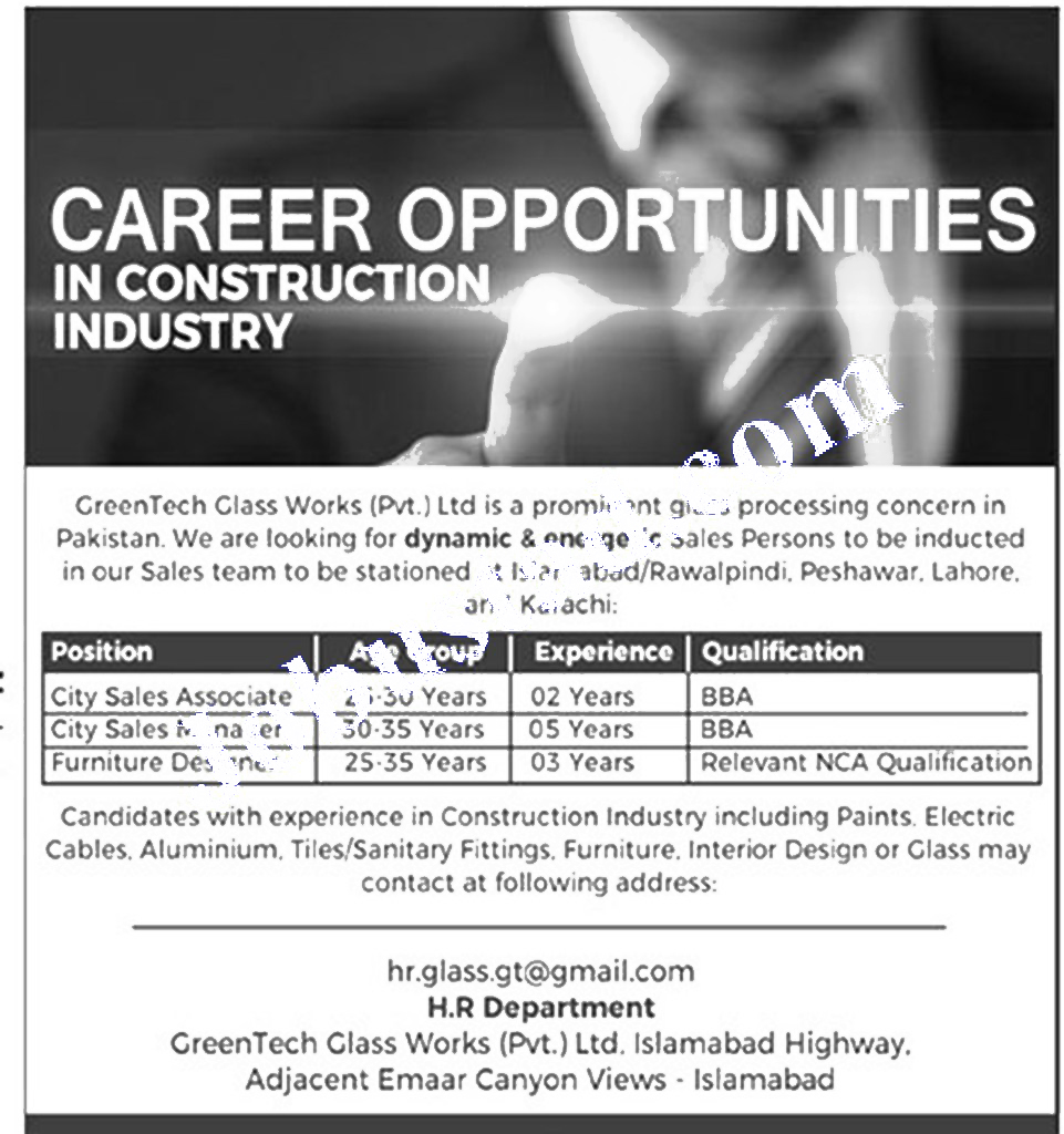 Latest jobs in Green Tech Glass Pvt Limited Jobs 2021 Private jobs in Islamabad Today 2021
